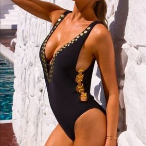 Athena one piece swimsuit with gold hardware